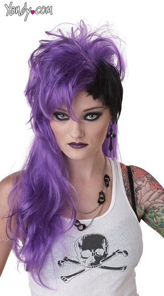 Smash Punk Purple Wig, Purple and Black Wig, Black and Purple Wigs, Short Purple Wigs