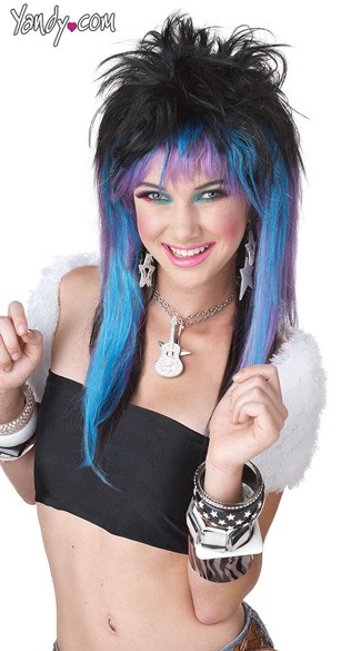 Rave Candy Blue and Purple Wig, Purple and Black Wig, Blue and Purple Wig
