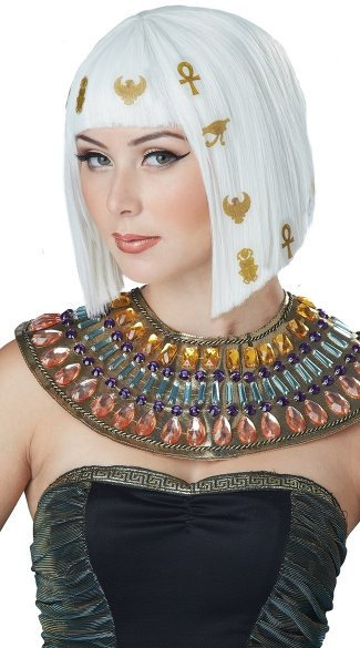 White Hair-O-Glyphics Egyptian Wig