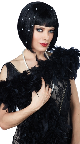 Short Black Flapper Wig, Art Deco Doll Wig, Bob Wig, Wig with Rhinestones