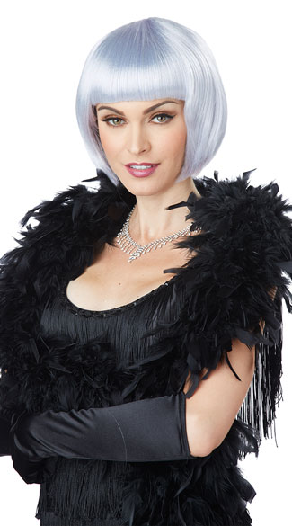 Lavender and Grey Flapper Wig, Bob Flapper Wig, Short Flapper Wig