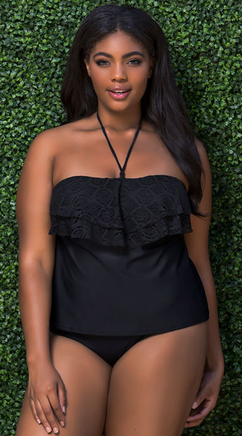 Plus Size Black Crochet Tankini Top