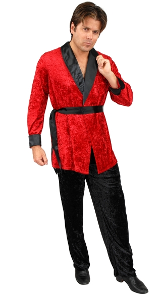 Ladies Man Velvet Smoking Jacket Costume, Hugh Hefner Costume, Red and Black Hugh Hefner Costume