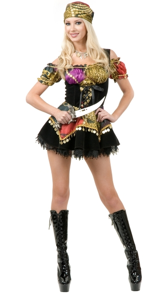 Gypsy Pirate Costume, Women Pirate Costume, Sexy Pirate Dress Costume