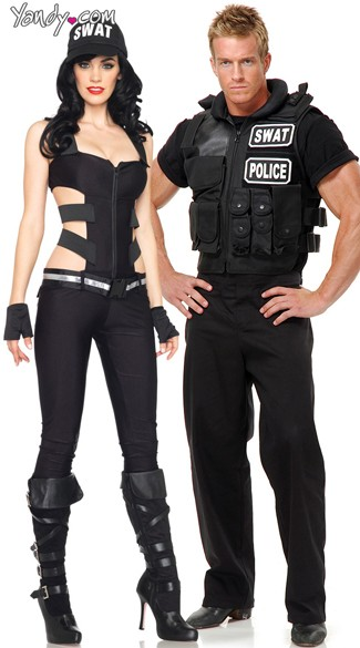 SWAT Team Leaders Couples Costume, Sexy SWAT Couples Costumes, Police Officers Couples Costume