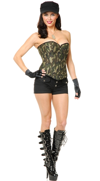Camo Printed Corset and Thong Set