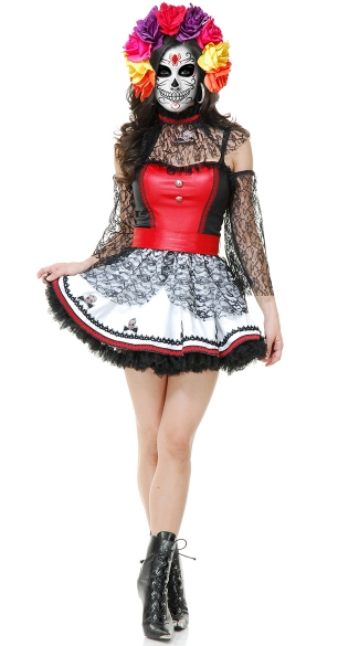 Adult Dia De Los Muertos Costume, Mexican Costume, Womens Day of the Dead Costume