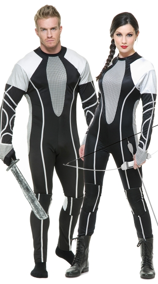 Survivor Jumpsuit Couples Costume, Men\'s Survivor Jumpsuit Costume, Men\'s Hunger Games Costume, Men\'s Districts Costume, Survivor Jumpsuit Costume, Female Tribute District Costume, Silver and Black Tribute Costume