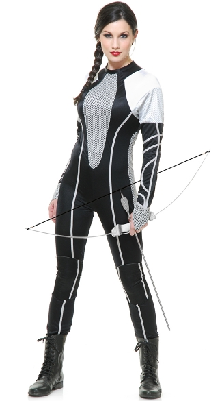 Survivor Jumpsuit Costume, Female Tribute District Costume, Silver and Black Tribute Costume