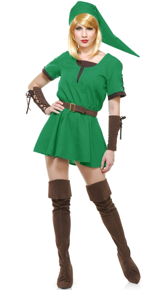 Elf Warrior Princess Costume, Sexy Zelda Elf Warrior Costume, Green and Brown Elf Warrior Princess Costume