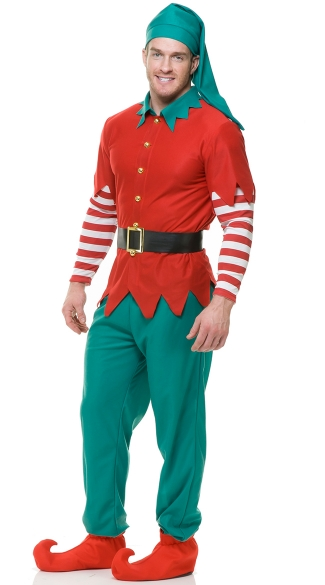 Men\'s Elf with Pants Costume, Men\'s Christmas Costume, Men\'s Holiday Costume