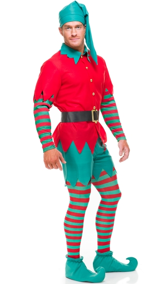 Men\'s Elf with Shorts Costume, Men\'s Christmas Costume, Men\'s Santa Costume