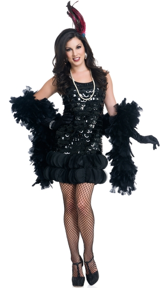 Midnight Jazz Flapper Costume, Sexy Black Jazz Flapper Costume, Black Dress Flapper Costume