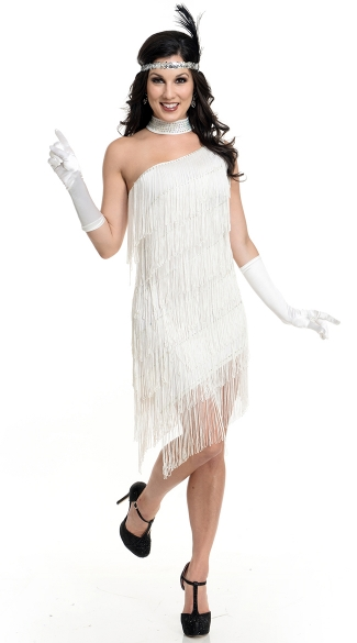 Classic Fringed Flapper Costume, Flapper Fringed Dress Costume, White Fringed Flapper Dress Costume