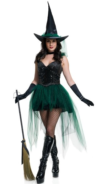 Emerald Witch Costume, Sexy Witch Costume, Sexy Witch Dress