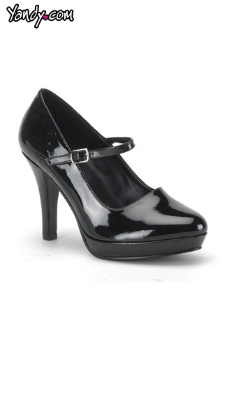 "4"" Black Patent Mary Jane Wide Shoe, Sexy Wide Black Mary Jane Shoe - Yandy.com"