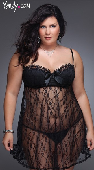 Plus Size Lace Babydoll Set