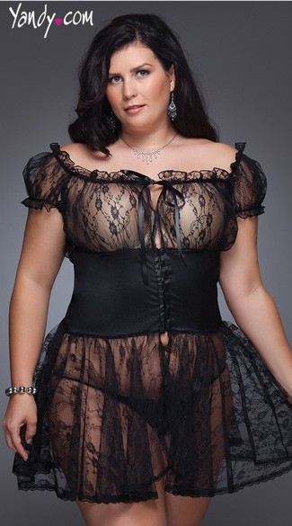 Plus Size Lace Babydoll Set, Plus Size Black Lace Babydoll and G String, Plus Size Lingerie Sets for Women
