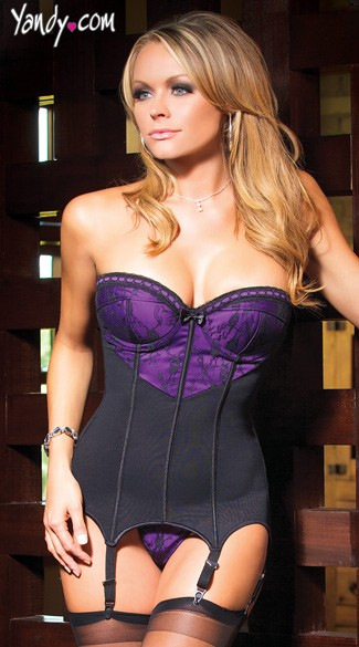 Floral Lace Bustier and G String, Floral Lace Lingerie Set, Purple and Black Bustier