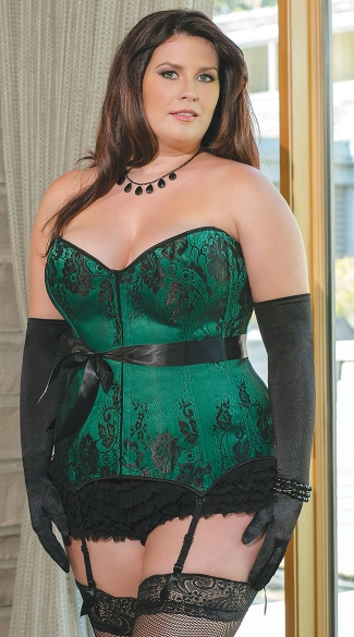 Plus Size Emerald Satin Corset, Plus Size Green Corset, Plus Size Satin and Lace Corset