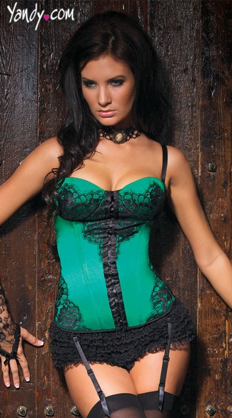 Green Satin Bustier with Lace Overlay