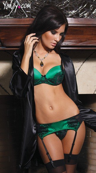 Green Satin Bra and Garter Set