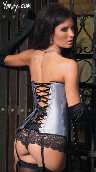 Silver Satin and Black Lace Corset