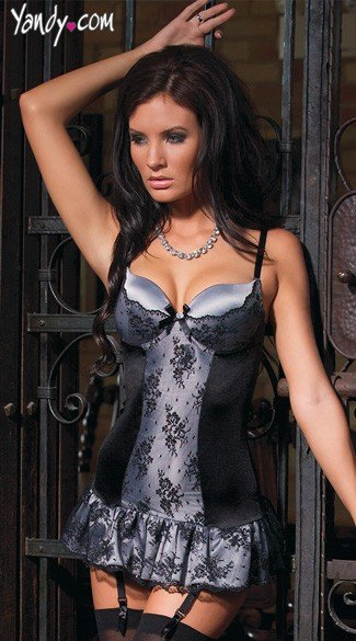 Silver Satin and Black Lace Chemise