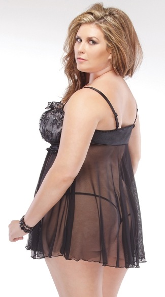 Plus Size Black Mesh and Lace Babydoll Set