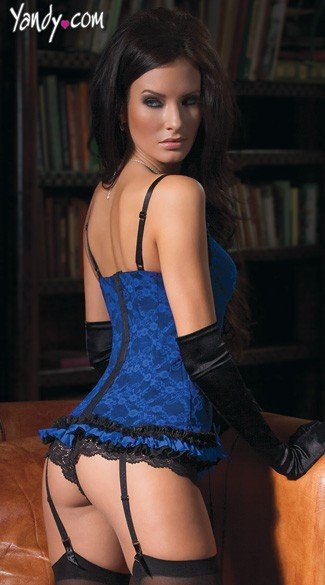 Blue and Black Lace Bustier