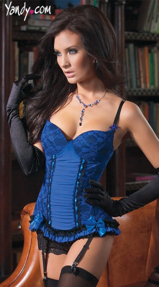Blue Lace Bustier, Blue and Black Lace Bustier, Royal Blue Lace Bustier