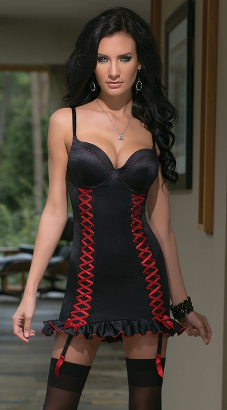 Black Lycra Chemise with Lace Up Panels