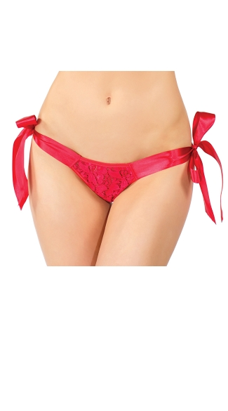 Plus Size Lace Tie Side Crotchless Panty