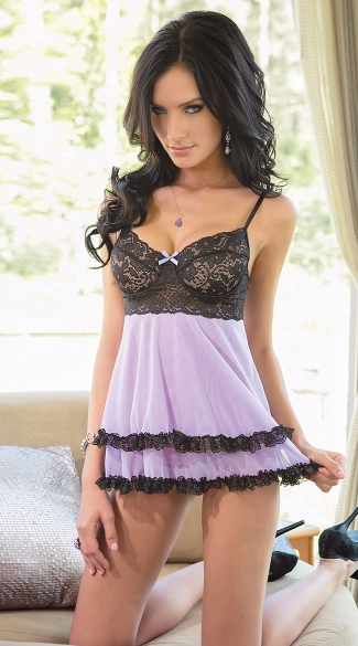 Soft Lilac and Black Babydoll Set, Purple and Black Babydoll, Mesh and Lace Babydoll