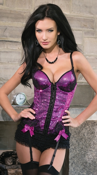 Fuchsia Sequin and Lace Bustier, Pink Sequin Bustier, Sequin Lingerie Bustier