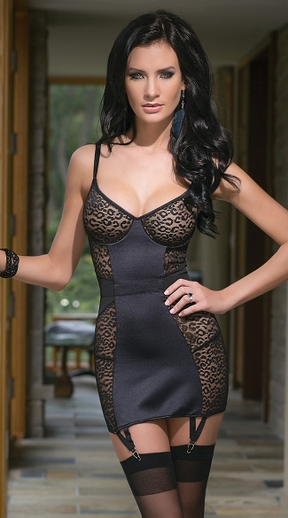 Leopard Mesh and Lycra Chemise, Mesh and Lycra Chemise, Black Mesh Chemise