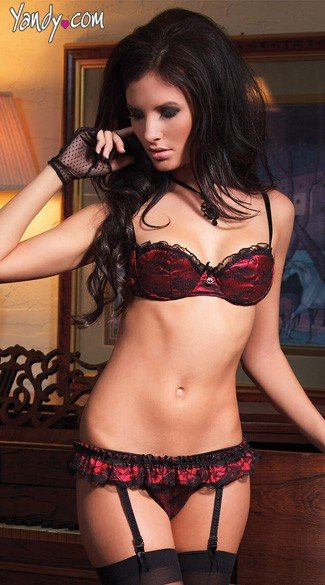 Lace and Satin Bra, Garter and Thong Set