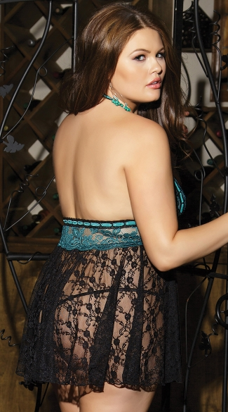 Plus Size Totally Turquoise Babydoll and Thong