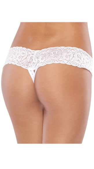 Plus Size Mesh and Lace Crotchless Thong