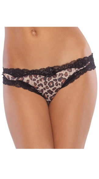 Plus Size Animal Print Crotchless Panty