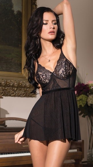 Black Beauty Babydoll and G-String