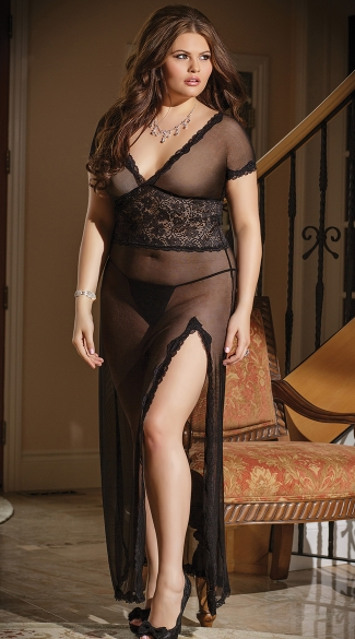 Plus Size Mesh and Lace V Neck Gown, Plus Size Long Mesh Gown