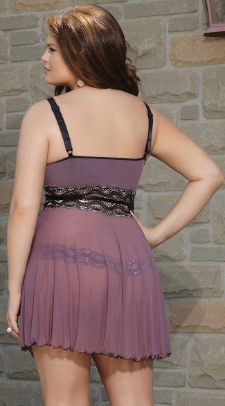 Plus Size Mad About Mauve Babydoll and G-String