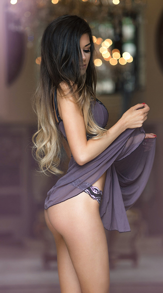 Mad About Mauve Babydoll and G-String