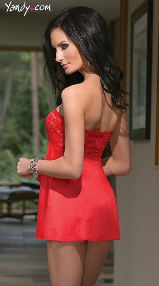 Red Strapless Babydoll Set