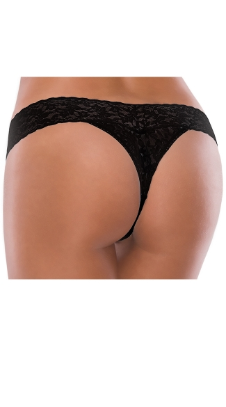 Plus Size Black I Do All Lace Thong