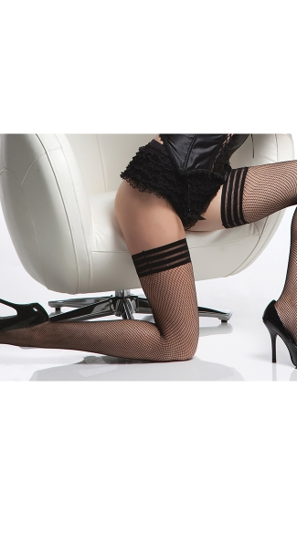 Triple Elastic Top Fishnet Stockings, Elastic Fishnet Stockings, Elastic Top Thigh High Fishnets