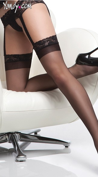 Sheer Thigh Highs With Attached Lace Garter Belt