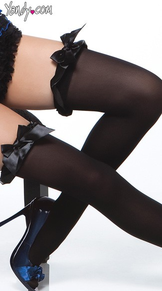 Opaque Thigh Highs with Satin Bows
