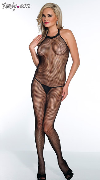 Fishnet Crotchless Bodystocking, Sexy Halter Neck Body Stocking, Sheer Body Stocking